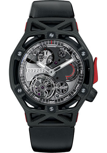 Hublot Watches - Techframe Ferrari Tourbillon Chronograph Carbon - Style No: 408.QU.0123.RX