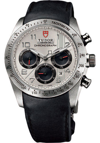 Tudor Watches - Fastrider Chronograph - Black Leather Strap - Style No: 42000-blackleather-silverarabic