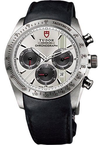 Tudor Watches - Fastrider Chronograph - Black Leather Strap - Style No: 42000-blackleather-silverindex