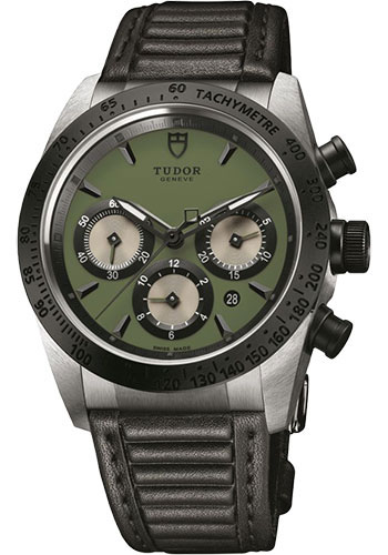 Tudor Watches - Fastrider Chronograph - Black Ceramic Bezel - Leather Strap - Style No: 42010n-leather-green