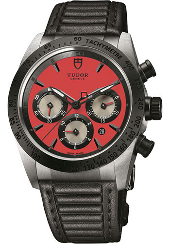 Tudor Watches - Fastrider Chronograph - Black Ceramic Bezel - Leather Strap - Style No: 42010n-leather-red