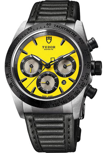 Tudor Watches - Fastrider Chronograph - Black Ceramic Bezel - Leather Strap - Style No: 42010n-leather-yellow
