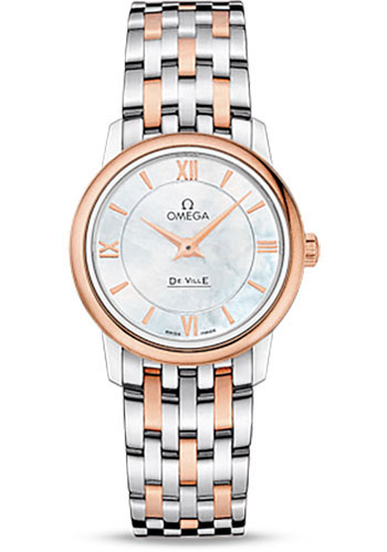 Omega Watches - De Ville Prestige Quartz 27.4 mm - Steel And Red Gold - Style No: 424.20.27.60.05.002