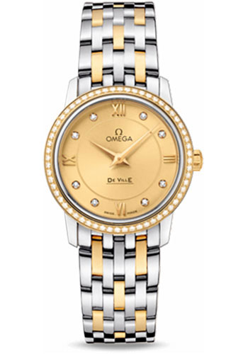 Omega Watches - De Ville Prestige Quartz 27.4 mm - Steel And Yellow Gold - Style No: 424.25.27.60.58.001