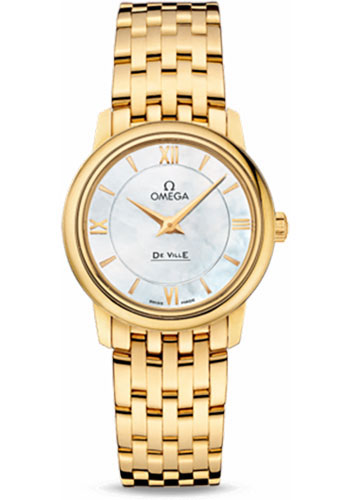 Omega Watches - De Ville Prestige Quartz 27.4 mm - Yellow Gold - Style No: 424.50.27.60.05.001