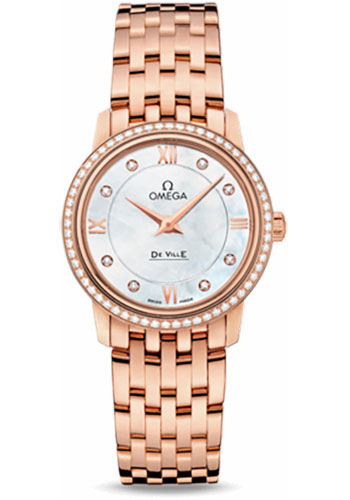 Omega Watches - De Ville Prestige Quartz 27.4 mm - Red Gold - Style No: 424.55.27.60.55.002