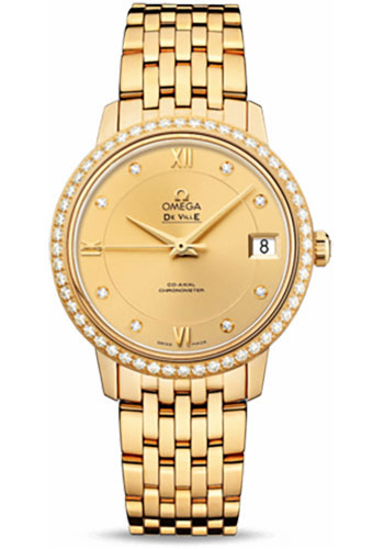 Omega Watches - De Ville Prestige Co-Axial 32.7 mm - Yellow Gold - Style No: 424.55.33.20.58.001