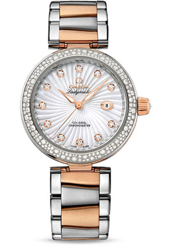 Omega Watches - De Ville Ladymatic Co-Axial 34 mm - Steel and Red Gold - Diamond Bezel - Style No: 425.25.34.20.55.001