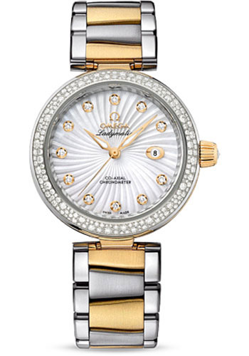 Omega Watches - De Ville Ladymatic Co-Axial 34 mm - Steel and Yellow Gold - Diamond Bezel - Style No: 425.25.34.20.55.002