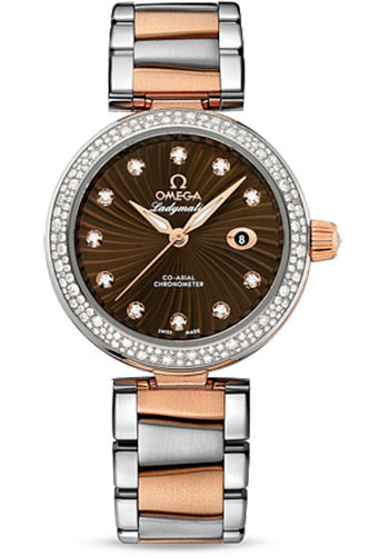 Omega Watches - De Ville Ladymatic Co-Axial 34 mm - Steel and Red Gold - Diamond Bezel - Style No: 425.25.34.20.63.001