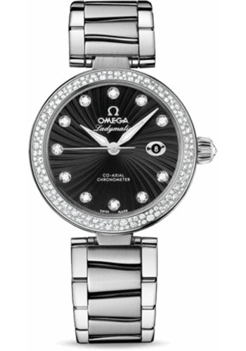 Omega Watches - De Ville Ladymatic Co-Axial 34 mm - Stainless Steel on Bracelet - Diamond Bezel - Style No: 425.35.34.20.51.001