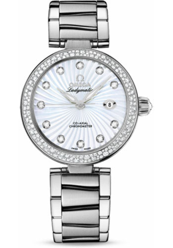 Omega Watches - De Ville Ladymatic Co-Axial 34 mm - Stainless Steel on Bracelet - Diamond Bezel - Style No: 425.35.34.20.55.001
