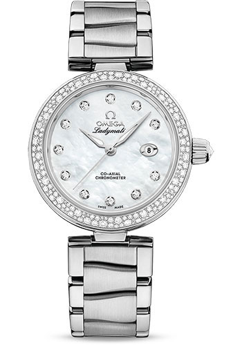 Omega Watches - De Ville Ladymatic 34 mm - Stainless Steel on Bracelet - Diamond Bezel - Style No: 425.35.34.20.55.002