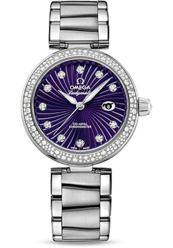 Omega Watches - De Ville Ladymatic Co-Axial 34 mm - Stainless Steel on Bracelet - Diamond Bezel - Style No: 425.35.34.20.60.001