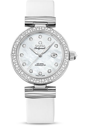 Omega Watches - De Ville Ladymatic 34 mm - Stainless Steel on Leather - Diamond Bezel - Style No: 425.37.34.20.55.002
