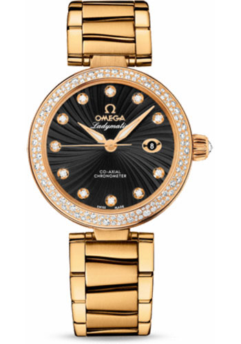 Omega Watches - De Ville Ladymatic Co-Axial 34 mm - Yellow Gold - Diamond Bezel - Style No: 425.65.34.20.51.002