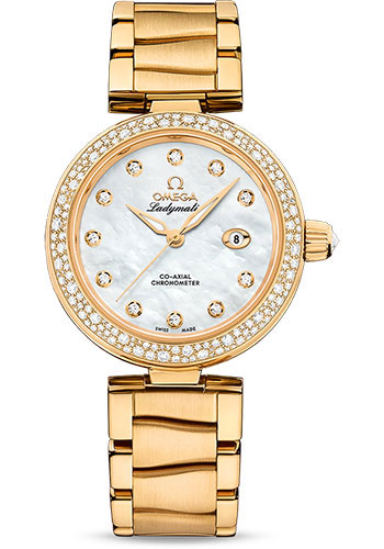 Omega Watches - De Ville Ladymatic 34 mm - Yellow Gold - Diamond Bezel - Style No: 425.65.34.20.55.009