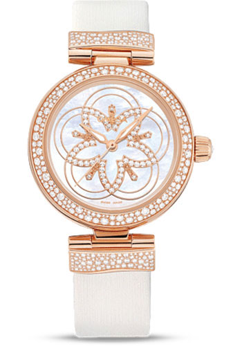 Omega Watches - De Ville Ladymatic Co-Axial 34mm - Red Gold - Diamond Bezel - Style No: 425.67.34.20.55.006