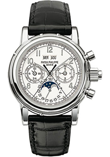 Patek philippe watches grand complications perpetual calendar moonphase chronograph from swissluxury for Patek philippe moonphase