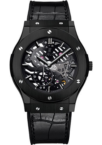Hublot Watches - Classic Fusion Ultra-Thin Skeleton Black Ceramic - Style No: 515.CM.0140.LR