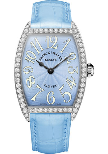 Franck Muller Watches - Cintre Curvex - Quartz - 34 mm Stainless Steel - Dia Case - Strap - Style No: 6852 QZ DP AC Pastel Blue