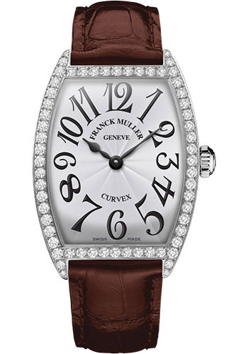 Franck Muller Watches - Cintre Curvex - Quartz - 34 mm Stainless Steel - Dia Case - Strap - Style No: 6852 QZ DP AC White Brown