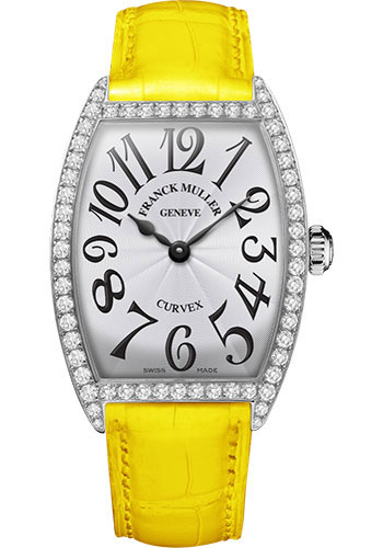 Franck Muller Watches - Cintre Curvex - Quartz - 34 mm Stainless Steel - Dia Case - Strap - Style No: 6852 QZ DP AC White Yellow