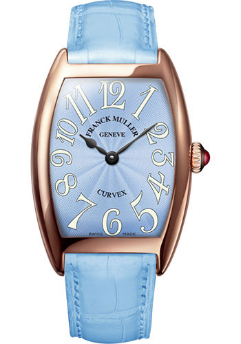 Franck Muller Watches - Cintre Curvex - Quartz - 29 mm Rose Gold - Strap - Style No: 7502 QZ 5N Pastel Blue