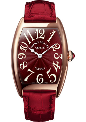 Franck Muller Watches - Cintre Curvex - Quartz - 29 mm Rose Gold - Strap - Style No: 7502 QZ 5N Red