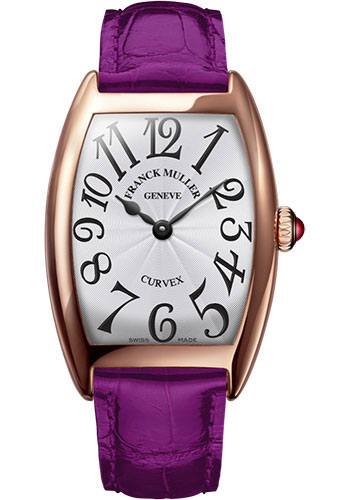 Franck Muller Watches - Cintre Curvex - Quartz - 29 mm Rose Gold - Strap - Style No: 7502 QZ 5N White Purple