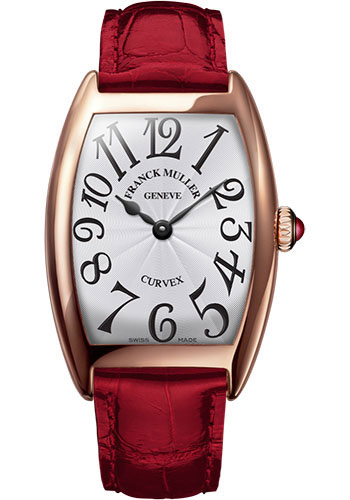 Franck Muller Watches - Cintre Curvex - Quartz - 29 mm Rose Gold - Strap - Style No: 7502 QZ 5N White Red