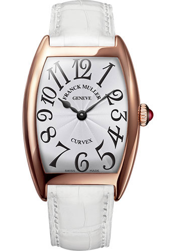 Franck Muller Watches - Cintre Curvex - Quartz - 29 mm Rose Gold - Strap - Style No: 7502 QZ 5N White White
