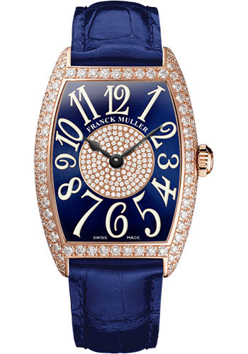 Franck Muller Watches - Cintre Curvex - Quartz - 29 mm Rose Gold - Dia Case Dial - Strap - Style No: 7502 QZ D 1P 5N Blue
