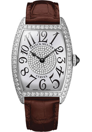 Franck Muller Watches - Cintre Curvex - Quartz - 29 mm White Gold - Dia Case Dial - Strap - Style No: 7502 QZ D 1P OG White Brown