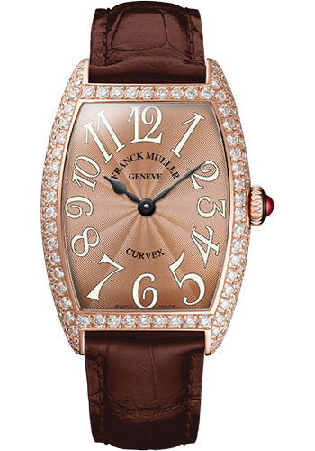 Franck Muller Watches - Cintre Curvex - Quartz - 29 mm Rose Gold - Dia Case - Strap - Style No: 7502 QZ D 5N Bronze
