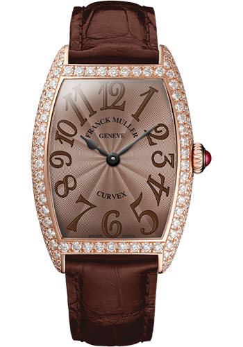 Franck Muller Watches - Cintre Curvex - Quartz - 29 mm Rose Gold - Dia Case - Strap - Style No: 7502 QZ D 5N Chocolate
