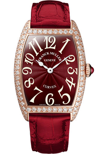 Franck Muller Watches - Cintre Curvex - Quartz - 29 mm Rose Gold - Dia Case - Strap - Style No: 7502 QZ D 5N Red