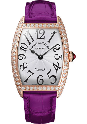 Franck Muller Watches - Cintre Curvex - Quartz - 29 mm Rose Gold - Dia Case - Strap - Style No: 7502 QZ D 5N White Purple
