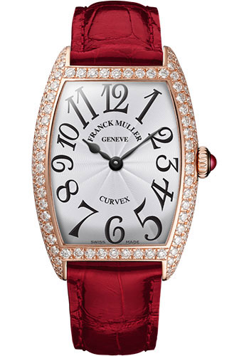 Franck Muller Watches - Cintre Curvex - Quartz - 29 mm Rose Gold - Dia Case - Strap - Style No: 7502 QZ D 5N White Red