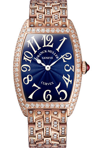 Franck Muller Watches - Cintre Curvex - Quartz - 29 mm Rose Gold - Dia Case - Half Dia Bracelet - Style No: 7502 QZ D B 5N Blue