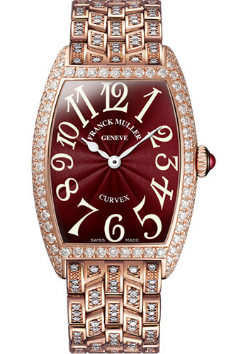 Franck Muller Watches - Cintre Curvex - Quartz - 29 mm Rose Gold - Dia Case - Half Dia Bracelet - Style No: 7502 QZ D B 5N Red