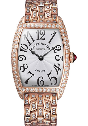 Franck Muller Watches - Cintre Curvex - Quartz - 29 mm Rose Gold - Dia Case - Half Dia Bracelet - Style No: 7502 QZ D B 5N White