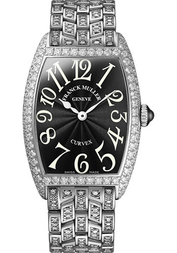 Franck Muller Watches - Cintre Curvex - Quartz - 29 mm Platinum - Dia Case - Half Dia Bracelet - Style No: 7502 QZ D B PT Black