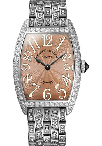 Franck Muller Watches - Cintre Curvex - Quartz - 29 mm Platinum - Dia Case - Half Dia Bracelet - Style No: 7502 QZ D B PT Bronze