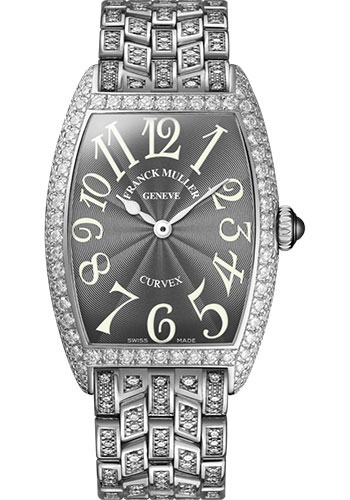 Franck Muller Watches - Cintre Curvex - Quartz - 29 mm Platinum - Dia Case - Half Dia Bracelet - Style No: 7502 QZ D B PT Grey