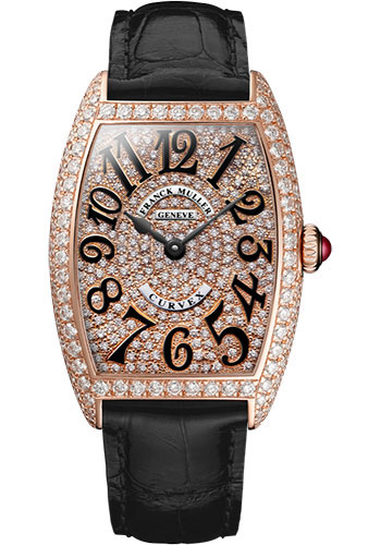 Franck Muller Watches - Cintre Curvex - Quartz - 29 mm Rose Gold - Dia Case Full Dial - Strap - Style No: 7502 QZ D CD 5N Black