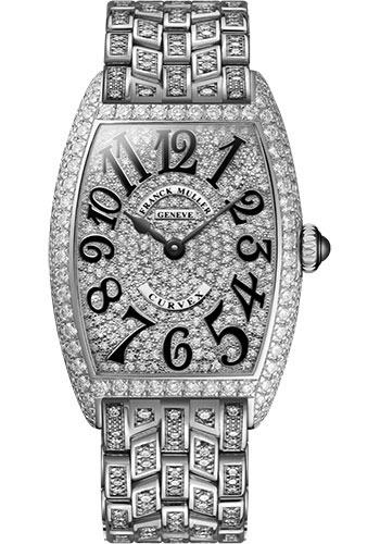 Franck Muller Watches - Cintre Curvex - Quartz - 29 mm White Gold - Dia Case Dial - Full Dia Bracelet - Style No: 7502 QZ D CD F OG