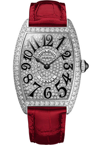 Franck Muller Watches - Cintre Curvex - Quartz - 29 mm White Gold - Dia Case Full Dial - Strap - Style No: 7502 QZ D CD OG Red