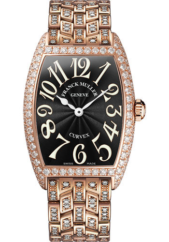 Franck Muller Watches - Cintre Curvex - Quartz - 29 mm Rose Gold - Dia Case - Full Dia Bracelet - Style No: 7502 QZ D F 5N Black