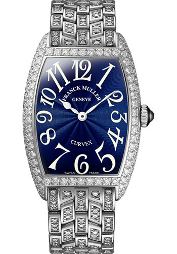 Franck Muller Watches - Cintre Curvex - Quartz - 29 mm Platinum - Dia Case - Full Dia Bracelet - Style No: 7502 QZ D F PT Blue